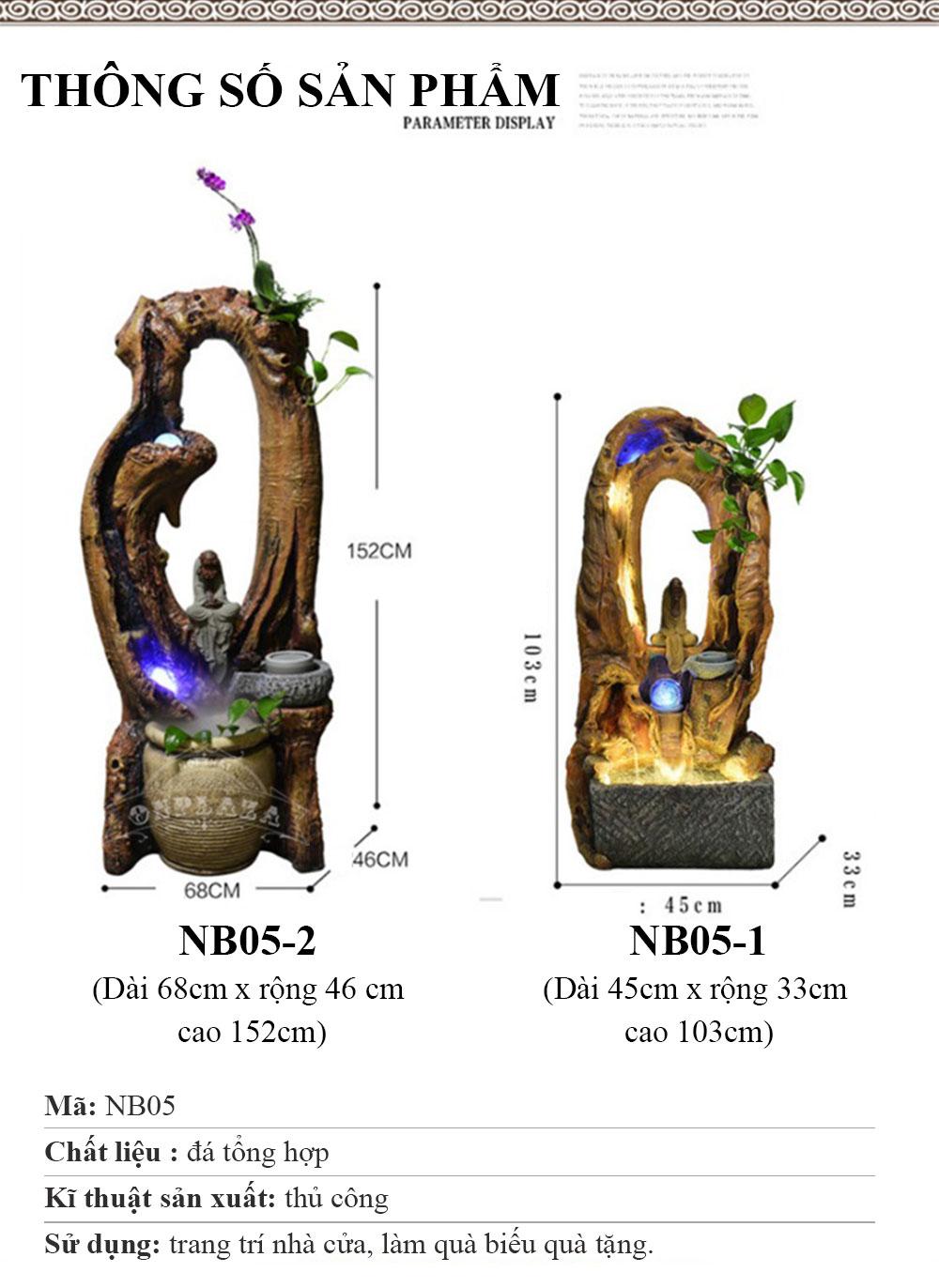 Tiểu cảnh giả gỗ kết hợp bể cá phong thủy NB05