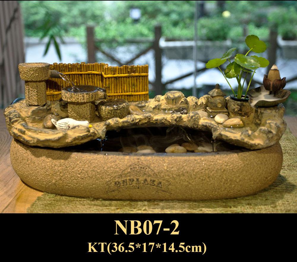 Chậu tiểu cảnh đá suối trang trí nhỏ (loại có chế độ phun sương) NB07