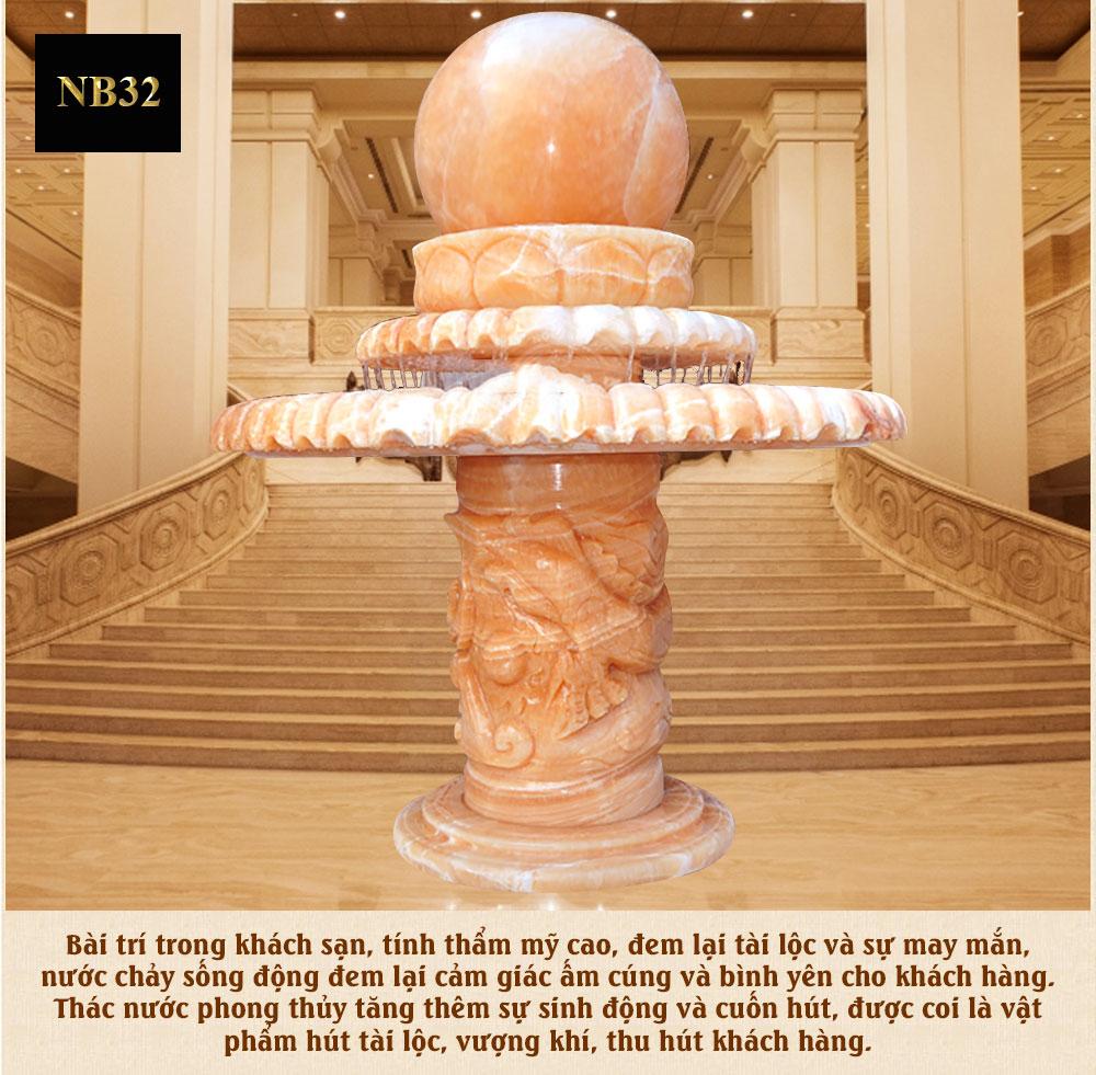 Quả cầu thác nước phong thủy 3 tầng trụ họa tiết rồng cao cấp NB32
