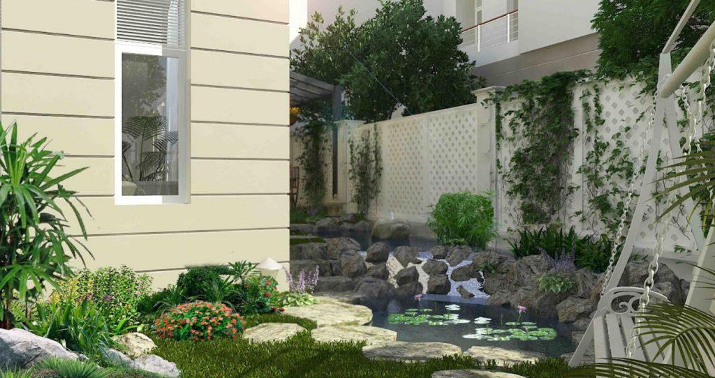 mẫu Tiểu cảnh sân vườn biệt thự