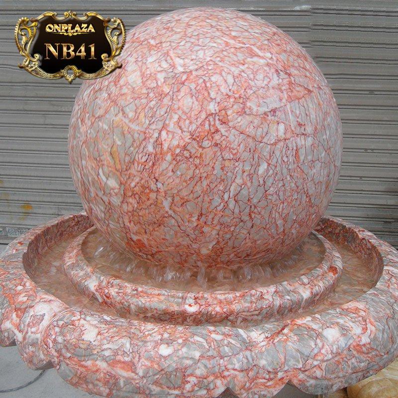 Quả cầu phong thủy đá cẩm thạch vân ánh hồng cao cấp NB41 1