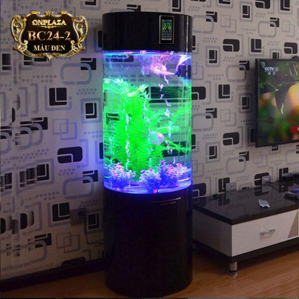 Bể cá cảnh mini có đèn led kèm bộ lọc cao cấp (bộ lọc dưới) BC24 đen