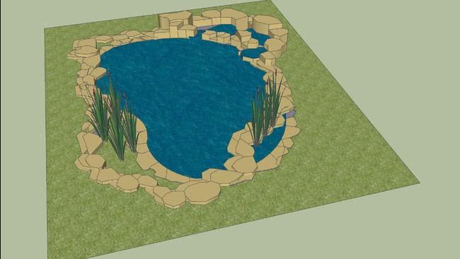 Thiết kế 3D cho hồ cá koi ngoài trời tại nonbo.net.vn