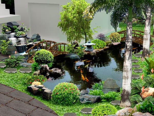 Hồ cá Koi được trang trí làm tiểu cảnh sân vườn đẹp nhất thế giới