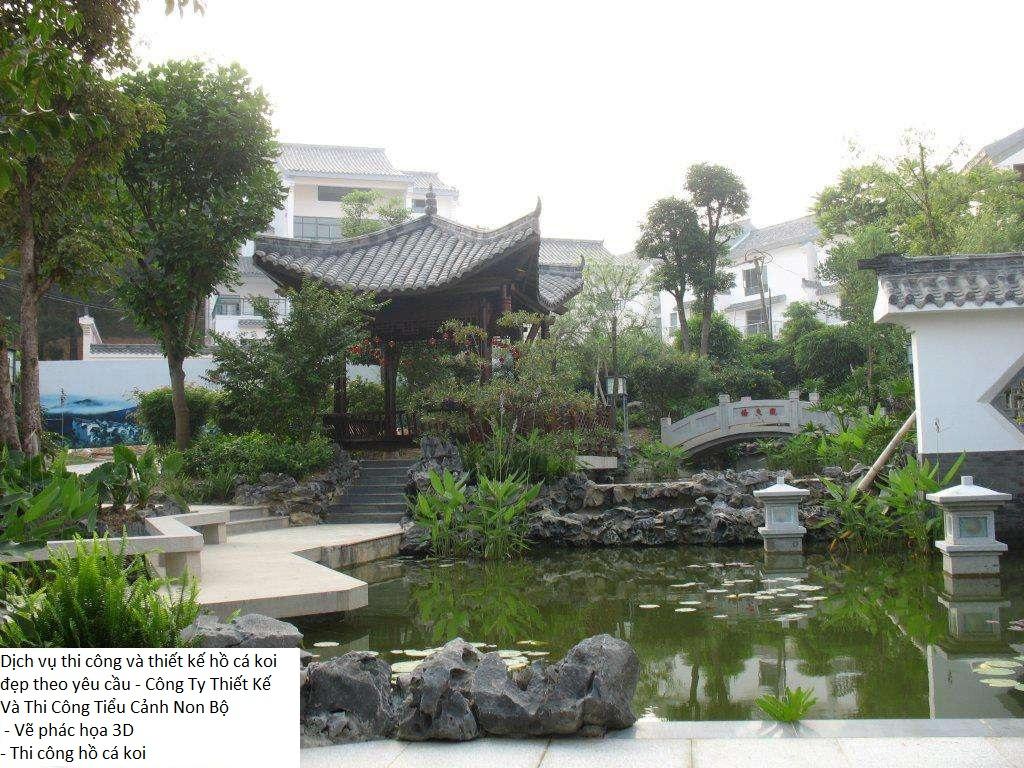 Hồ cá Koi sân vườn đẹp chính là niềm tự hào của gia chủ.
