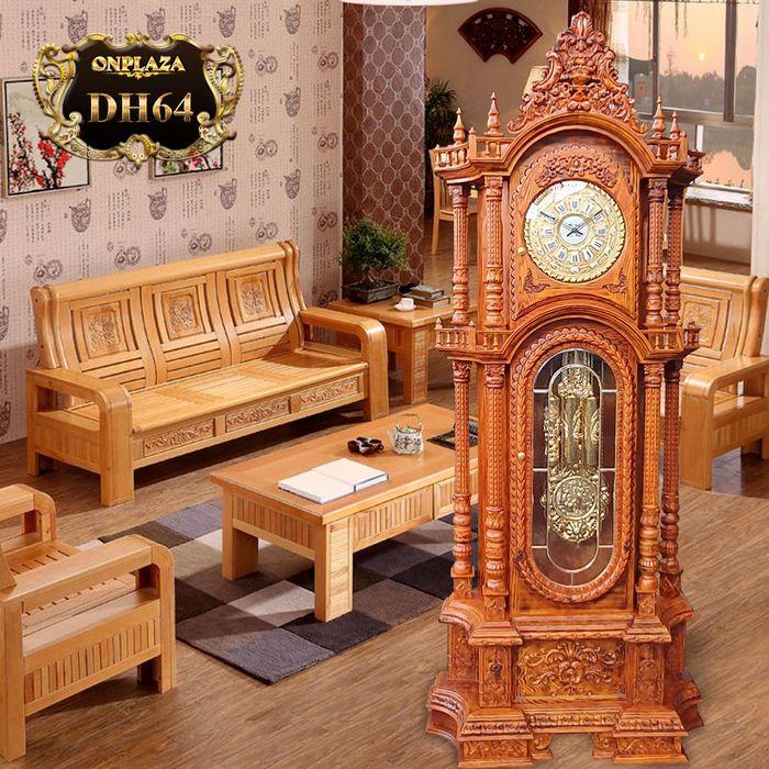 Đồng hồ cây gỗ sồi máy cổ DH64 mạ vàng 24k kiểu Pháp máy đại