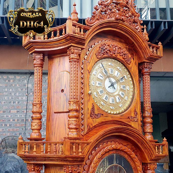 Đồng hồ cây gỗ sồi máy cổ DH64 mạ vàng 24k kiểu Pháp máy đại 3