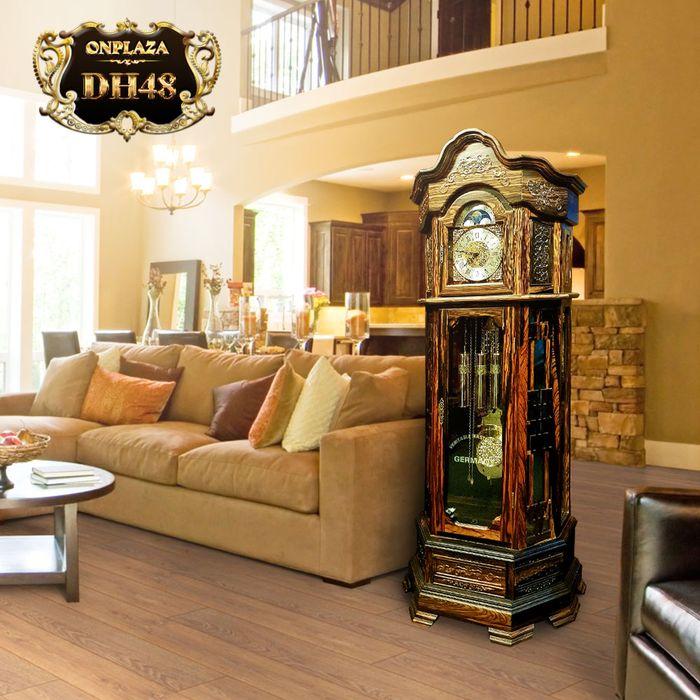 Đồng hồ cây gỗ mun hoa máy cơ cổ DH48 kiểu lục lăng vuông
