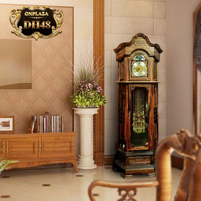 Đồng hồ cây máy cơ cổ Đức DH48 vỏ gỗ mun hoa kiểu lục lăng vuông 2