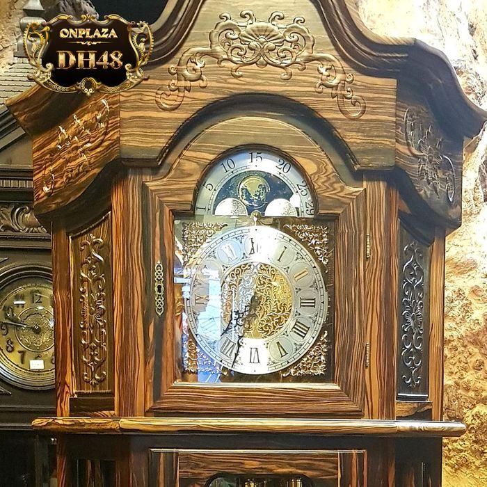Đồng hồ cây máy cơ cổ Đức DH48 vỏ gỗ mun hoa kiểu lục lăng vuông 3