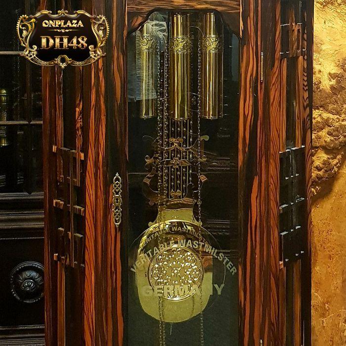 Đồng hồ cây máy cơ cổ Đức DH48 vỏ gỗ mun hoa kiểu lục lăng vuông 4