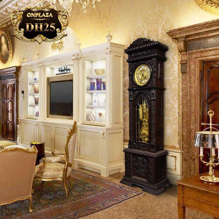 Đồng hồ cây máy cổ Đức mạ vàng 24k gỗ gụ kiểu hổ phù DH25