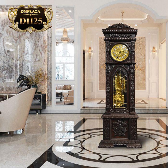 Đồng hồ cây máy cổ Đức mạ vàng 24k gỗ gụ kiểu hổ phù DH25 1