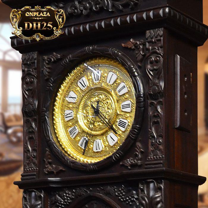 Đồng hồ cây máy cổ Đức mạ vàng 24k gỗ gụ kiểu hổ phù DH25 2