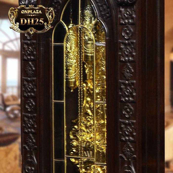 Đồng hồ cây máy cổ Đức mạ vàng 24k gỗ gụ kiểu hổ phù DH25 3