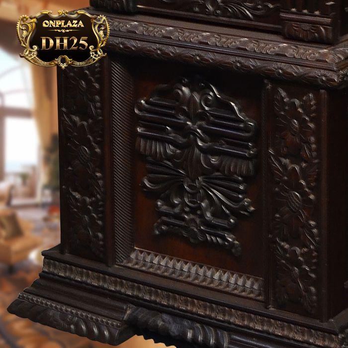 Đồng hồ cây máy cổ Đức mạ vàng 24k gỗ gụ kiểu hổ phù DH25 4